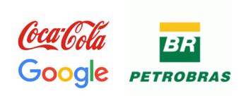 Logo da coca cola logo da petrobras e logo do google como exemplo de logos para personalização para empresas