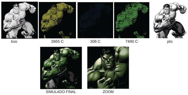 Demonstração de combinação de efeitos de cores aplicados em um desenho do personagem hulk para personalização