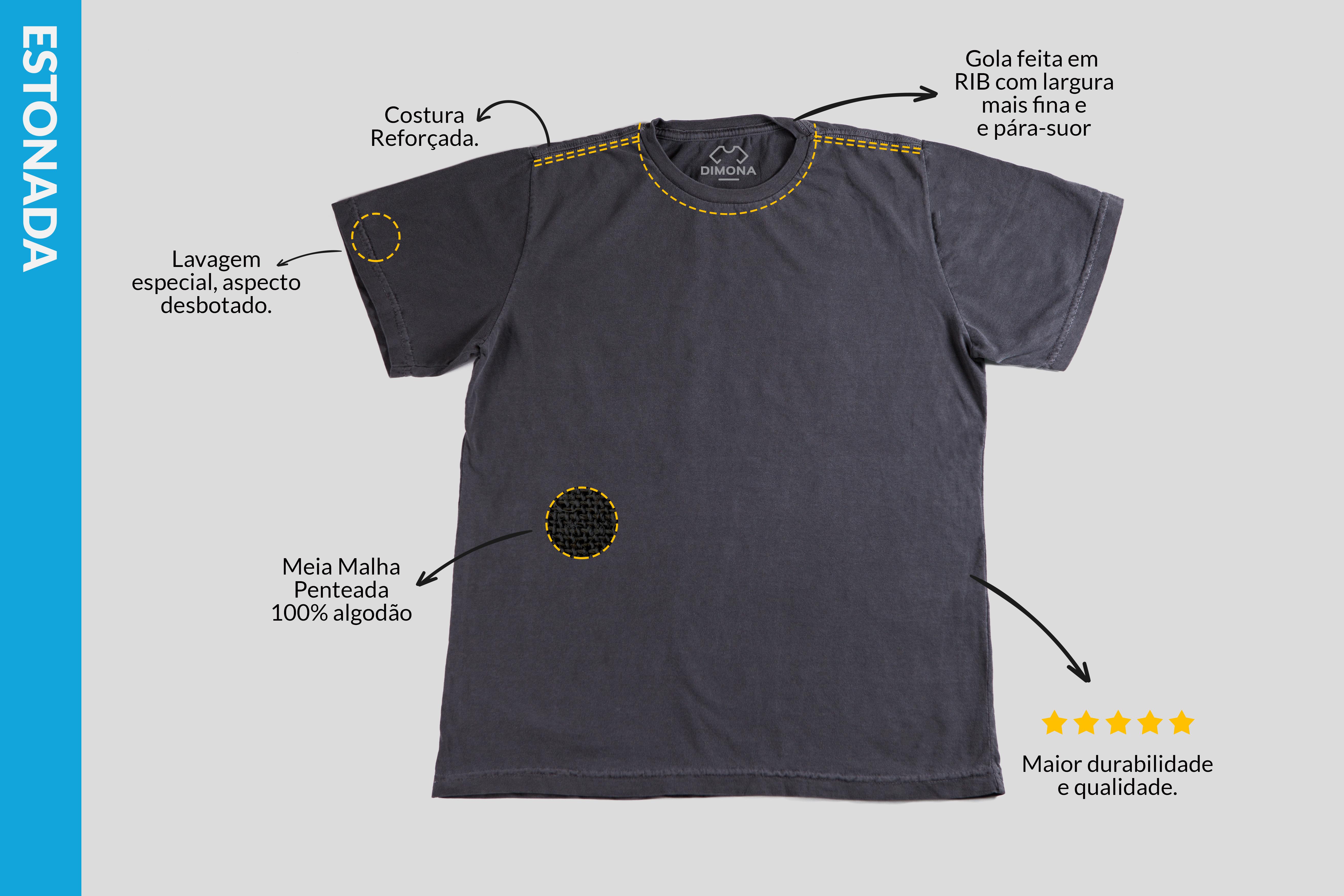 Camiseta cinza com aspecto desbotado estonada cem por cento algodão com gola fina e costura reforçada para personalizar