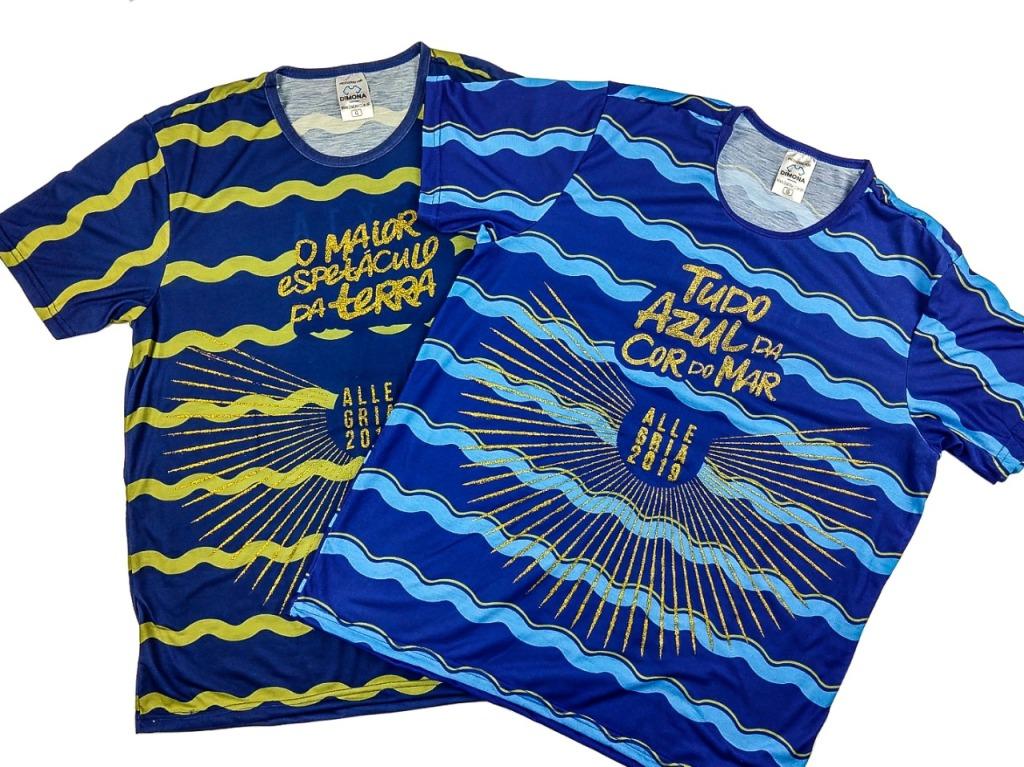 Camisetas azuis com desenho de ondas