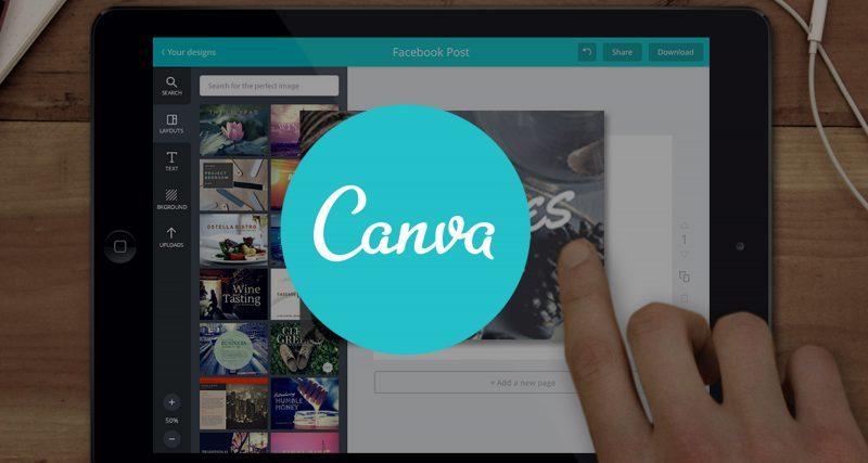 Aparelho tablet mostrando aplicativo Canva de criação de logos