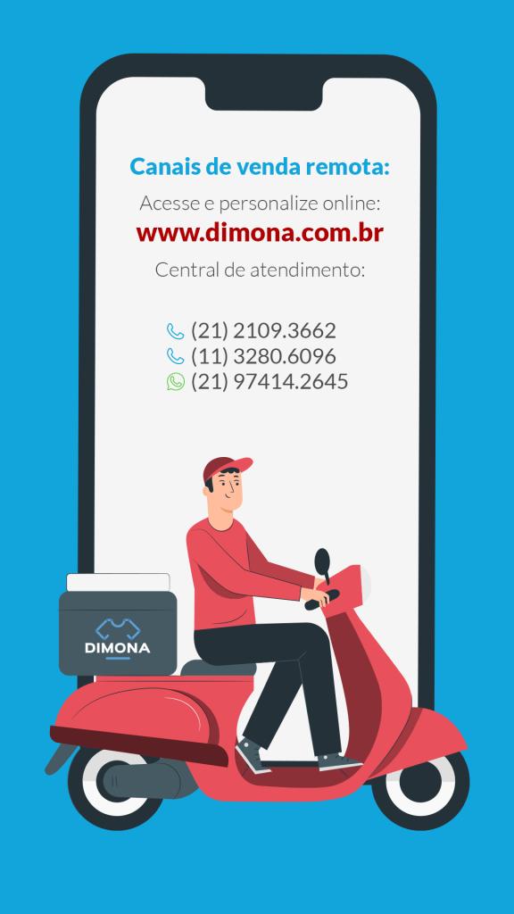Ilustração dos canais de vendas da Dimona na tela de um celular