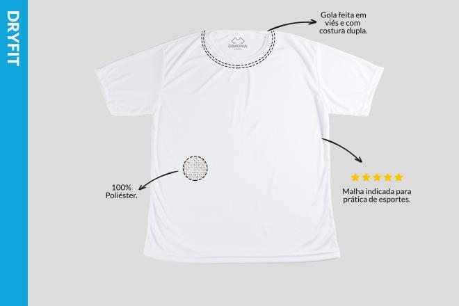 Camiseta branca dryfit cem por cento poliéster malha indicada para prática de esportes com gola feita em viés e com costura dupla para personalizar