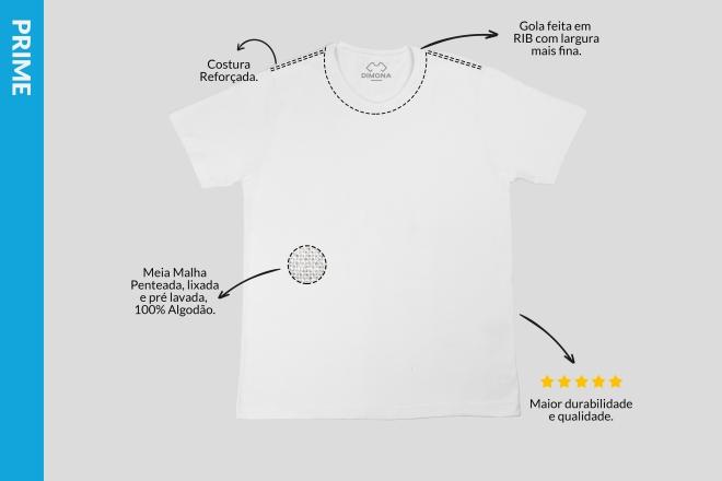 Camiseta branca prime cem por cento algodão com costura resforçada e gola fina para personalizar