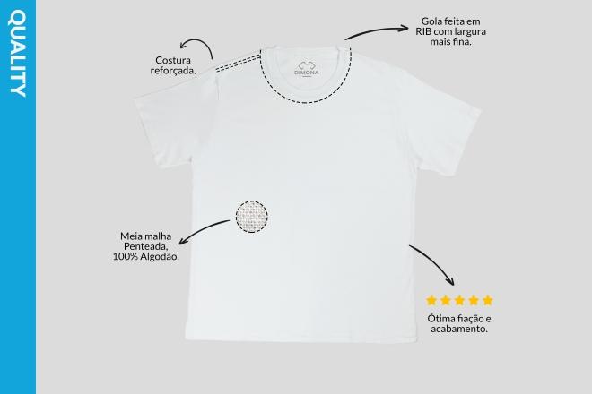 Camiseta branca quality cem por cento algodão com costura resforçada e gola fina para personalizar