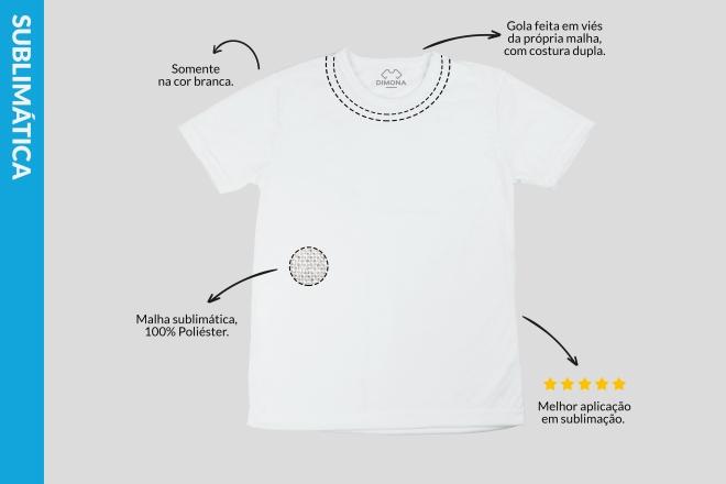 Camiseta branca sublimática cem por cento poliéster com gola feita em viés e com custura dupla para personalizar