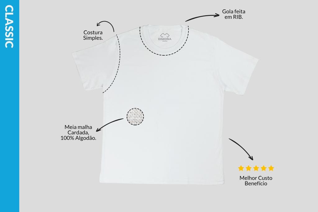 Camiseta branca classic cem por cento algodão com costura simples disponível para personalizar