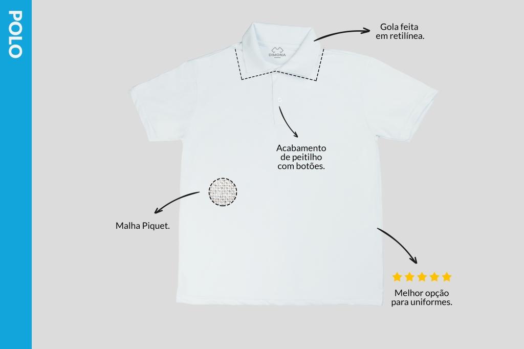 Camiseta branca polo malha piquet com acabamento de peitilho com botões e gola feita em retilínea como melhor opção para uniformes personalizados