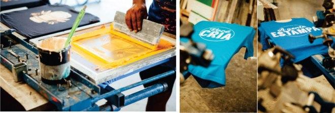 """Tinta amarela sendo aplicada na tela da técnica de Silk Screen. Duas camisas azuis com estampa escrito em uma """"Você cria"""" e, na outra, """" A gente estampa"""""""